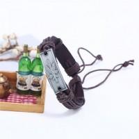 Винтажный плетеный браслет с металлическим конопляным листочком