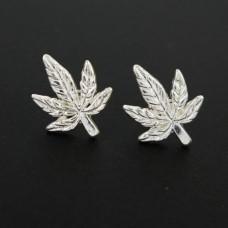 Серьги конопляный лист(цвет золото, серебро)